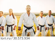 Купить «Karate group in white kimono, workout in field», фото № 30573934, снято 26 августа 2018 г. (c) Tryapitsyn Sergiy / Фотобанк Лори