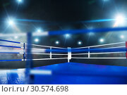 Купить «Boxing ring, closeup view through ropes, nobody», фото № 30574698, снято 7 октября 2016 г. (c) Tryapitsyn Sergiy / Фотобанк Лори