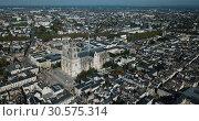 Купить «Aerial view of Orleans old center and Sainte-Croix Cathedral, France», видеоролик № 30575314, снято 24 октября 2018 г. (c) Яков Филимонов / Фотобанк Лори