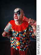 Купить «Bloody clown with meat cleaver and baseball bat», фото № 30575834, снято 7 декабря 2018 г. (c) Tryapitsyn Sergiy / Фотобанк Лори