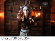 Купить «Scary witch hands out, front view», фото № 30576354, снято 29 января 2019 г. (c) Tryapitsyn Sergiy / Фотобанк Лори