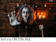 Купить «Scary witch hands out, front view», фото № 30576362, снято 29 января 2019 г. (c) Tryapitsyn Sergiy / Фотобанк Лори