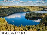 Купить «View from the lookout tower of Aulanko, Hämeenlinna, Finland», фото № 30577138, снято 4 апреля 2020 г. (c) Сергей Цепек / Фотобанк Лори