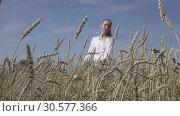 Купить «Young slender woman with a long fair hair in a white shirt and jeans goes across the field of ripe wheat to summer sunny day», видеоролик № 30577366, снято 10 апреля 2009 г. (c) Куликов Константин / Фотобанк Лори