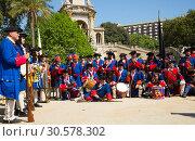 Купить «Portrait of people at costumed procession on the Day of Catalonia in Park de la Ciutadella», фото № 30578302, снято 11 сентября 2018 г. (c) Яков Филимонов / Фотобанк Лори