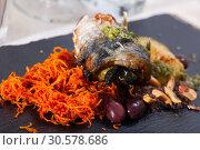 Купить «Scomber fish roll with bacon», фото № 30578686, снято 25 января 2020 г. (c) Яков Филимонов / Фотобанк Лори