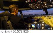 Купить «Civil aircraft cockpit.», видеоролик № 30578826, снято 10 апреля 2019 г. (c) Игорь Жоров / Фотобанк Лори