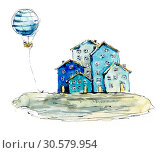 Купить «Seaside village. Watercolor hand drawn illustrations», иллюстрация № 30579954 (c) Мария Кутузова / Фотобанк Лори