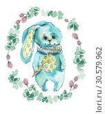 Rabbit in flower circle. Watercolor hand drawing illustration. Стоковая иллюстрация, иллюстратор Мария Кутузова / Фотобанк Лори