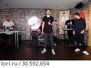Купить «Jimi Blue showcase to promote his upcoming EP '3LUE' and song 'Schuetteln' at Hard Rock Cafe at Kurfuerstendamm. Featuring: Jimi Blue Ochsenknecht Where...», фото № 30592654, снято 12 июня 2017 г. (c) age Fotostock / Фотобанк Лори