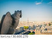 Купить «Gargoyle on Notre Dame Cathedral, Paris», фото № 30600270, снято 22 апреля 2011 г. (c) Sergey Borisov / Фотобанк Лори