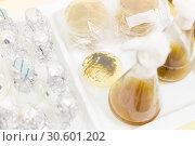 Купить «Close up of cell culture samples on LB agar medium in petri dish and flask in laminar flow.», фото № 30601202, снято 23 октября 2019 г. (c) Matej Kastelic / Фотобанк Лори