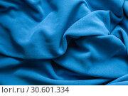 Купить «Texture of bright blue fleece», фото № 30601334, снято 5 апреля 2019 г. (c) EugeneSergeev / Фотобанк Лори