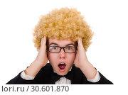 Купить «Young man wearing afro wig», фото № 30601870, снято 13 февраля 2014 г. (c) Elnur / Фотобанк Лори