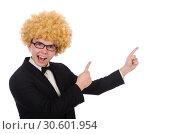 Купить «Young man wearing afro wig», фото № 30601954, снято 13 февраля 2014 г. (c) Elnur / Фотобанк Лори