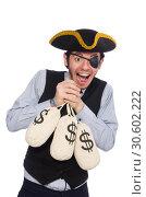 Купить «Businessman pirate isolated on white background», фото № 30602222, снято 16 марта 2015 г. (c) Elnur / Фотобанк Лори