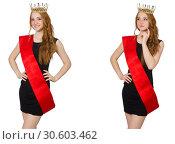 Купить «Beaty queen at contest in black dress», фото № 30603462, снято 24 апреля 2019 г. (c) Elnur / Фотобанк Лори