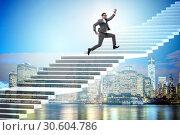 Купить «Businessman climbing career ladder over city», фото № 30604786, снято 22 апреля 2019 г. (c) Elnur / Фотобанк Лори