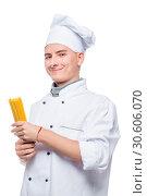 Купить «portrait of a cook with spaghetti, portrait isolated on white background», фото № 30606070, снято 14 октября 2018 г. (c) Константин Лабунский / Фотобанк Лори