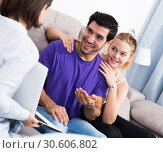 Купить «Young couple with real estate agent at home», фото № 30606802, снято 18 января 2020 г. (c) Яков Филимонов / Фотобанк Лори