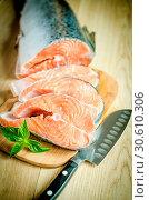 Купить «Fresh salmon steaks», фото № 30610306, снято 20 апреля 2019 г. (c) easy Fotostock / Фотобанк Лори