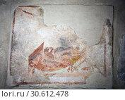 Купить «ITALY, POMPEII- SEPTEMBER 21, 2010: murals, paintings on the walls in the ruins of Pompeii», фото № 30612478, снято 21 сентября 2010 г. (c) Куликов Константин / Фотобанк Лори
