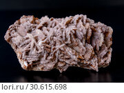 Купить «Macro stone mineral gypsum with calcite on black background», фото № 30615698, снято 17 апреля 2019 г. (c) Катерина Белякина / Фотобанк Лори