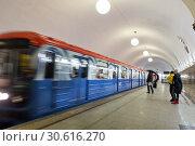 Поезд прибывает на подземную станцию метро. Москва. Россия (2018 год). Стоковое фото, фотограф Евгений Ткачёв / Фотобанк Лори