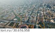 Купить «Aerial view of Mediterranean Sea coast of Barcelona, Spain», видеоролик № 30616958, снято 16 ноября 2018 г. (c) Яков Филимонов / Фотобанк Лори