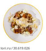 Купить «Cauliflower with potatoes and brisket meat served with cheese sauce», фото № 30619026, снято 23 мая 2019 г. (c) Яков Филимонов / Фотобанк Лори