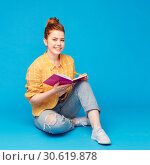 Купить «happy teenage student girl with diary or notebook», фото № 30619878, снято 28 февраля 2019 г. (c) Syda Productions / Фотобанк Лори