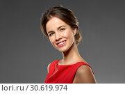 Купить «portrait of beautiful young woman in red dress», фото № 30619974, снято 20 января 2019 г. (c) Syda Productions / Фотобанк Лори