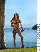 Купить «Amazon girl with bow at the ready», фото № 30620386, снято 16 апреля 2019 г. (c) Алексей Кузнецов / Фотобанк Лори