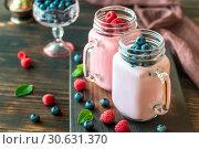 Купить «Blueberry and raspberry smoothies», фото № 30631370, снято 10 июля 2016 г. (c) easy Fotostock / Фотобанк Лори