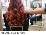 Купить «Руки парикмахера формируют локоны на длинных окрашенных в красный цвет волосах клиентки в салоне парикмахерской», фото № 30640466, снято 28 февраля 2019 г. (c) Светлана Попова / Фотобанк Лори