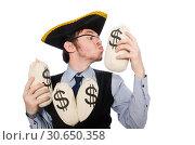 Купить «Businessman pirate isolated on white background», фото № 30650358, снято 16 марта 2015 г. (c) Elnur / Фотобанк Лори