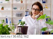 Купить «Old female biotechnology chemist working in the lab», фото № 30652162, снято 7 декабря 2018 г. (c) Elnur / Фотобанк Лори