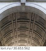 Купить «Architectural  ceiling details of Washington Square Arch, Washington Square Park, Greenwich Village, Lower Manhattan, New York City, New York State, USA», фото № 30653562, снято 13 декабря 2019 г. (c) Ingram Publishing / Фотобанк Лори