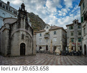 Купить «Faade of St Luke church, Kotor, Bay of Kotor, Montenegro», фото № 30653658, снято 23 октября 2019 г. (c) Ingram Publishing / Фотобанк Лори