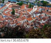 Купить «Aerial view of town seen from the Kotor fortress, Kotor, Bay of Kotor, Montenegro», фото № 30653678, снято 13 декабря 2019 г. (c) Ingram Publishing / Фотобанк Лори