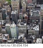 Купить «Aerial view of cityscape, Midtown Manhattan, New York City, New York State, USA», фото № 30654154, снято 18 ноября 2019 г. (c) Ingram Publishing / Фотобанк Лори