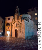 Faade of St Luke church, Kotor, Bay of Kotor, Montenegro. Стоковое фото, фотограф Keith Levit / Ingram Publishing / Фотобанк Лори