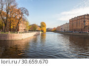 Купить «Beautiful city landscape, embankments of the river Moika in the lower reaches near the island of New Holland», фото № 30659670, снято 16 октября 2018 г. (c) Юлия Бабкина / Фотобанк Лори