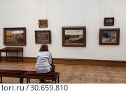 Купить «In the hall of russian landscape painter Isaac Levitan in the Tretyakov gallery. Moscow, Russia», фото № 30659810, снято 4 марта 2012 г. (c) Наталья Волкова / Фотобанк Лори