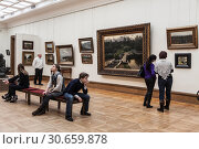 Купить «Visitors to the hall of Russian landscape painter Isaac Levitan in the Tretyakov gallery. Moscow, Russia», фото № 30659878, снято 4 марта 2012 г. (c) Наталья Волкова / Фотобанк Лори