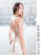 Купить «close-up portrait of young female with long hair in romantic ivory midi gown», фото № 30665414, снято 24 июня 2017 г. (c) Яков Филимонов / Фотобанк Лори