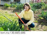 Купить «Young woman in a yellow sweater treats weeds in the garden», фото № 30665686, снято 23 июля 2019 г. (c) Яков Филимонов / Фотобанк Лори