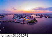 Beautiful aerial evning view in the white nights of St. Petersburg, Russia, The Vasilievskiy Island at sunset, Rostral Columns, Admiralty, Palace Bridge, Stock Exchange Building. shot from drone. (2018 год). Стоковое фото, фотограф Алексей Ширманов / Фотобанк Лори