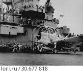 Купить «PACIFIC OCEAN Aboard the USS Yorktown -- Nov 1943 -- Dynamic static. The motion of its props causes an`aura' to form around this F6F on USS YORKTOWN -...», фото № 30677818, снято 23 мая 2012 г. (c) age Fotostock / Фотобанк Лори