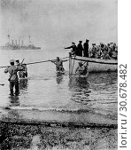 Купить «TURKEY Gallipoli -- 25 Apr 1915 -- Directed by sailors from a destroyer, a tie line is secured so New Zealand Army troops can disembark on the beach at...», фото № 30678482, снято 11 декабря 2019 г. (c) age Fotostock / Фотобанк Лори